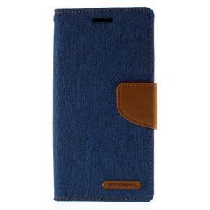 Luxury textilní/koženkové pouzdro pro Samsung Galaxy S6 Edge - modré - 3