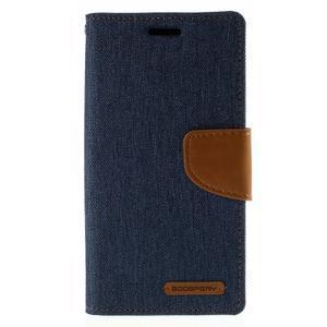 Luxury textilní/koženkové pouzdro pro Samsung Galaxy S6 Edge - jeans - 3