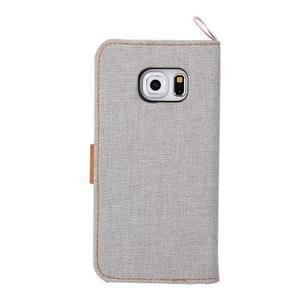 Jeans textilní/pu kožené pouzdro na Samsung Galaxy S6 Edge - šedé - 3