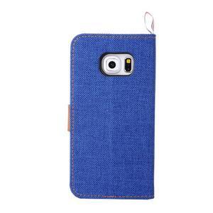 Jeans textilní/pu kožené pouzdro na Samsung Galaxy S6 Edge - modré - 3