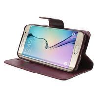 Wallet PU kožené pouzdro na Samsung Galaxy S6 Edge G925 - vínové - 3/7