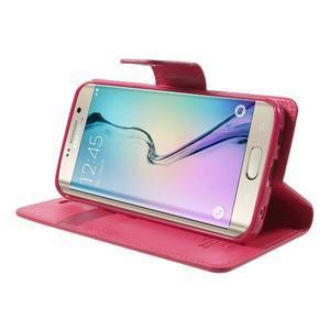 Wallet PU kožené pouzdro na Samsung Galaxy S6 Edge G925 - rose - 3