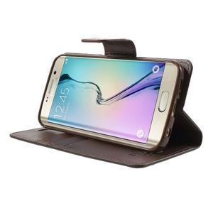 Wallet PU kožené pouzdro na Samsung Galaxy S6 Edge G925 - tmavěhnědé - 3