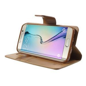 Wallet PU kožené pouzdro na Samsung Galaxy S6 Edge G925 - hnědé - 3