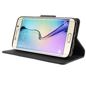 Diary PU kožené pouzdro na Samsung Galaxy S6 Edge - černé - 3