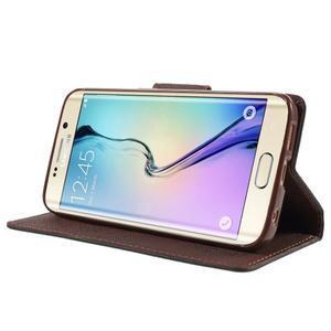 Diary PU kožené pouzdro na Samsung Galaxy S6 Edge - černé/hnědé - 3