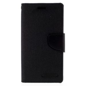 Luxury textilní/koženkové pouzdro pro Samsung Galaxy S6 Edge - černé - 3