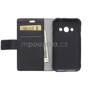 Peněženkové pu kožené pouzdro na Samsung Galaxy Xcover 3 - černé - 3