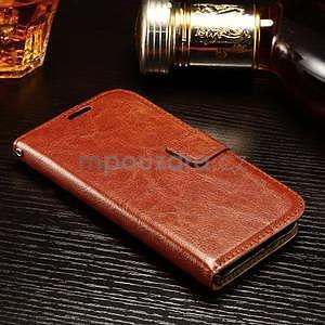 Koženkové peněženkové pouzdro na Samsung Galaxy Xcover 3 - hnědé - 3