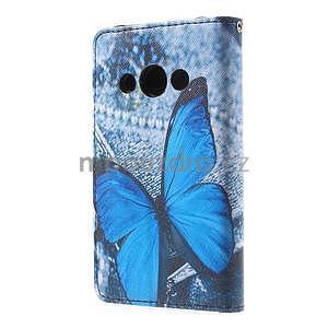 Stylové peněženkové pouzdro pro Samsung Galaxy Xcover 3 - modrý motýl - 3