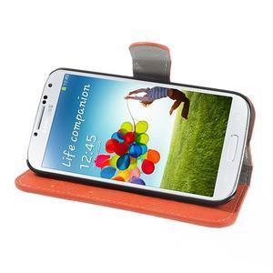 PU kožené peněženkové pouzdro na Samsung Galaxy S4 - oranžové - 3