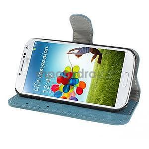 PU kožené peněženkové pouzdro na Samsung Galaxy S4 - modré - 3