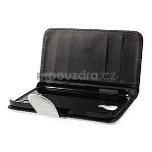 PU kožené peněženkové pouzdro s hadím motivem na Samsung Galaxy S4 - bílé - 3