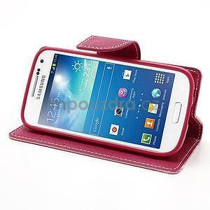 PU kožené peněženkové pouzdro na Samsung Galaxy S4 mini - růžové - 3