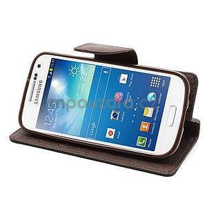 PU kožené peněženkové pouzdro na Samsung Galaxy S4 mini - hnědé/černé - 3