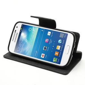 PU kožené peněženkové pouzdro na Samsung Galaxy S4 mini - černé - 3