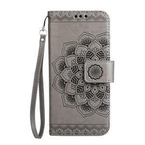 Mandala PU kožené pouzdro na Samsung Galaxy S7 Edge - šedé - 3