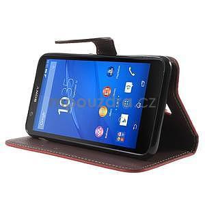 PU kožené lístkové pouzdro pro Sony Xperia E4 - červené - 3