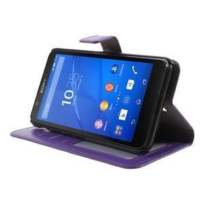 PU kožené peněženkové pouzdro na mobil Sony Xperia E4 - fialové - 3