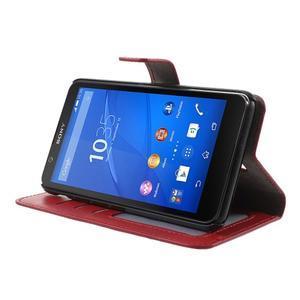 PU kožené pěněženkové pouzdro na mobil Sony Xperia E4 - červené - 3