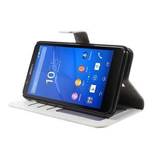 PU kožené peněženkové pouzdro na mobil Sony Xperia E4 - bílé - 3