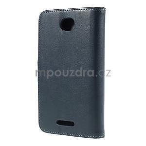 Peněženkové PU kožené pouzdro na Sony Experia E4 - tmavě modré - 3