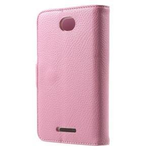 Koženkové pouzdro pro Sony Xperia E4 - růžové - 3