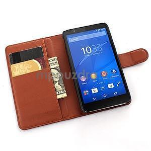PU kožené peněženkové pouzdro na mobil Sony Xperia E4 - hnědé - 3