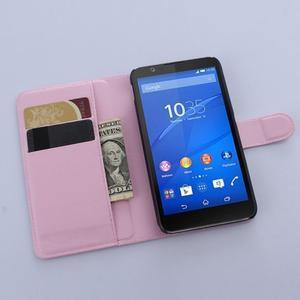 PU kožené peněženkové pouzdro na mobil Sony Xperia E4 - růžové - 3