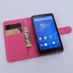 PU kožené peněženkové pouzdro na mobil Sony Xperia E4 - rose - 3