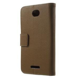 PU kožené peněženkové pouzdro na Sony Xperia E4 - hnědé - 3
