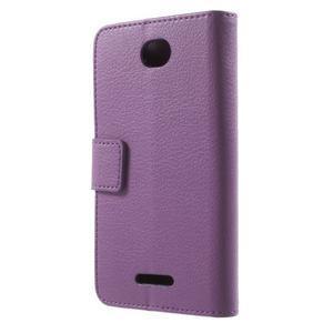 PU kožené peněženkové pouzdro na Sony Xperia E4 - fialové - 3