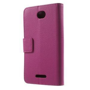 PU kožené peněženkové pouzdro na Sony Xperia E4 - rose - 3