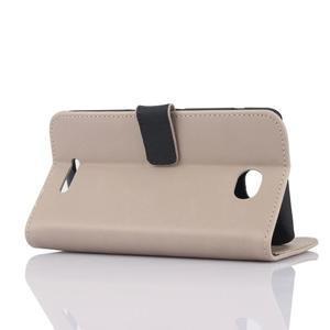 PU kožené PU peněženkové pouzdro na Sony Xperia E4 - béžové - 3