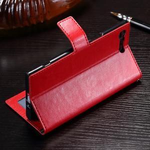 Wallet PU kožené zapínací pouzdro na Sony Xperia XZ Premium - červené - 3
