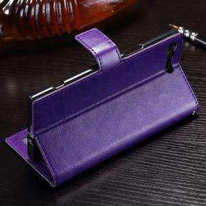 Wallet PU kožené zapínací pouzdro na Sony Xperia XZ Premium - fialové - 3
