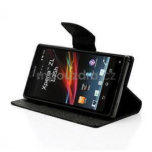 Peněženkové PU kožené pouzdro na Sony Xperia Z - černé - 3