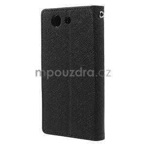 PU kožené peněženkové pouzdro na Sony Z3 Compact - černé - 3