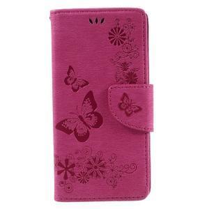 Butterfly PU kožené pouzdro na Sony Xperia E5 - rose - 3