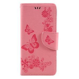 Butterfly PU kožené pouzdro na Sony Xperia E5 - růžové - 3