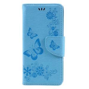 Butterfly PU kožené pouzdro na Sony Xperia E5 - světledmodré - 3