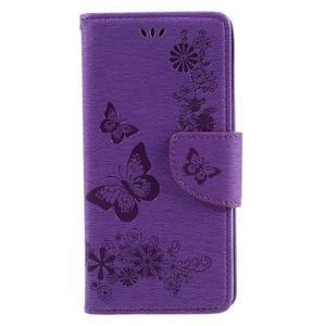 Butterfly PU kožené pouzdro na Sony Xperia E5 - fialové - 3