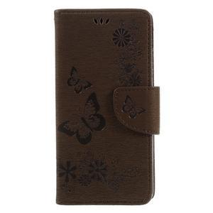 Butterfly PU kožené pouzdro na Sony Xperia E5 - hnědé - 3