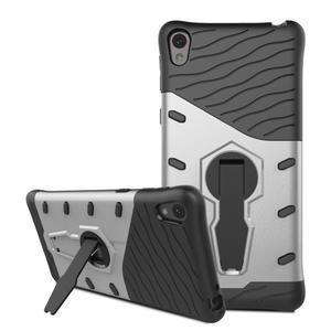 Armory odolný obal se stojánkem na Sony Xperia E5 - stříbrný - 3