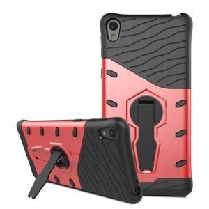 Armory odolný obal se stojánkem na Sony Xperia E5 - červený - 3