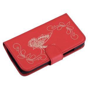Motýlkové PU kožené pouzdro na mobil Sony Xperia E5 - červené - 3