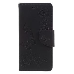 Butterfly PU kožené pouzdro na Sony Xperia E5 - černé - 3