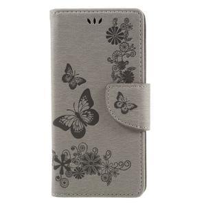 Butterfly PU kožené pouzdro na Sony Xperia E5 - šedé - 3