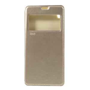 Richi PU kožené pouzdro s okýnkem na Sony Xperia XA Ultra - zlaté - 3