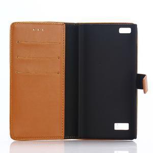 PU kožené peněženkové pouzdro na BlackBerry Leap - hnědé - 3